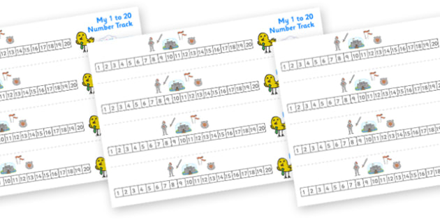 Pirates Number Track (1-20) - Knights, Castles,  Maths, Math, number track, farm, numbertrack, Counting, Numberline, Number line, Counting on, Counting back, Castles and Knights, maiden, castle, tower, dragon, sword, horse, flag, shield, dungeon,