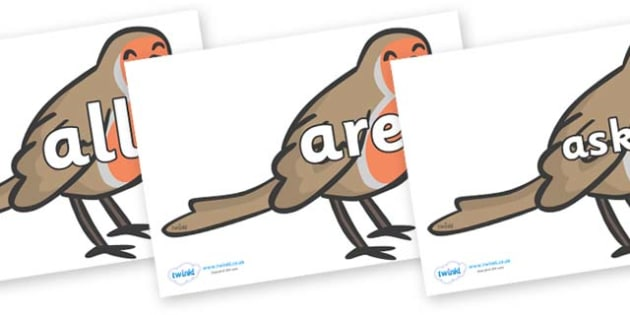 Tricky Words on Robins - Tricky words, DfES Letters and Sounds, Letters and sounds, display, words