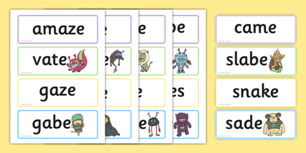 Phase 5 'a-e' Split Digraph Flashcards Real and Nonsense Words, silent e,