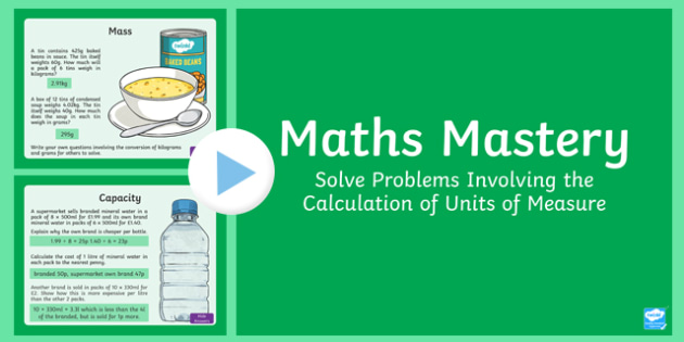 Year 6 Measurement Solve Problems Units of Measure Maths Mastery PowerPoint