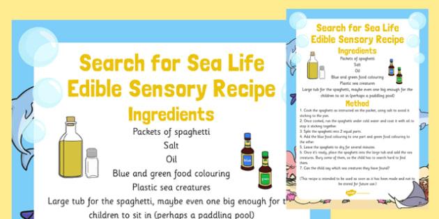 Search for Sea Life Edible Sensory Recipe - search, sea life, edible, sensory recipe, recipe