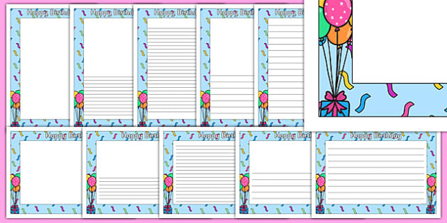 Happy Birthday A4 Page Borders - page border, a4 border, template, writing, birthdays,