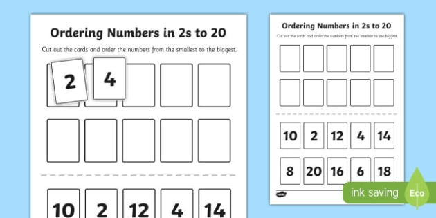 Ordering Numbers in 2s to 20 Activity