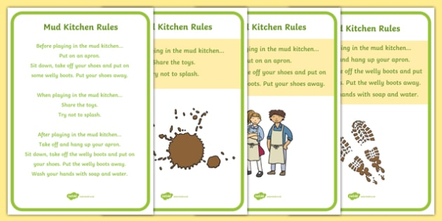 Editable Mud Kitchen Rules Posters - EYFS, Early Years, display, mud kitchen, texture kitchen, outdoor learning