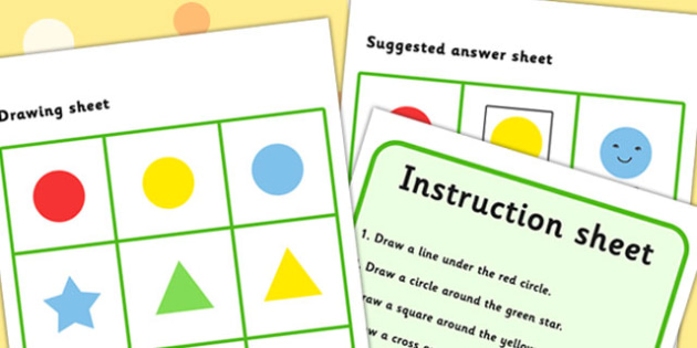 Listen And Do 1: Four Word Level - drawing, levels, worksheets