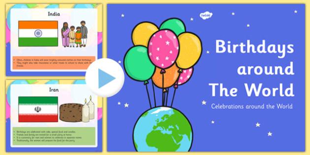 Birthdays Around the World Presentation - birthdays, around, worls, presentation, powerpoint