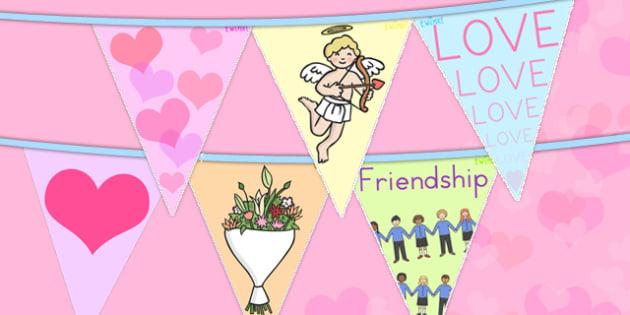 Valentine's Day Bunting - valentines day, valentines, bunting