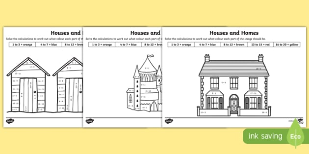 Houses and Homes Addition and Subtraction to 20 Colour by Number