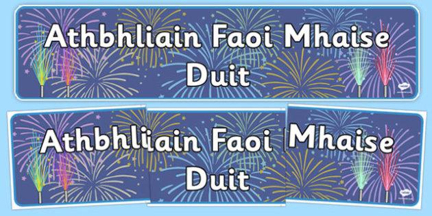 Happy New Year Singular Banner Gaeilge - gaeilge, happy new year, singular, banner, display