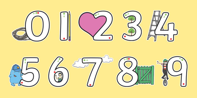 Number Formation 0 to 9 SEN Numbers Display Cut Outs