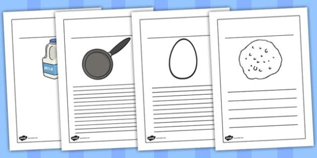 Pancake Recipe Writing Frames - australia, pancake, recipe, frame