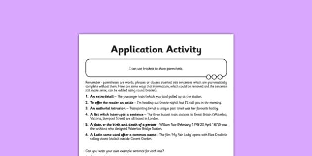 Brackets Application Activity Sheet - GPS, spelling, grammar, parenthesis, worksheet