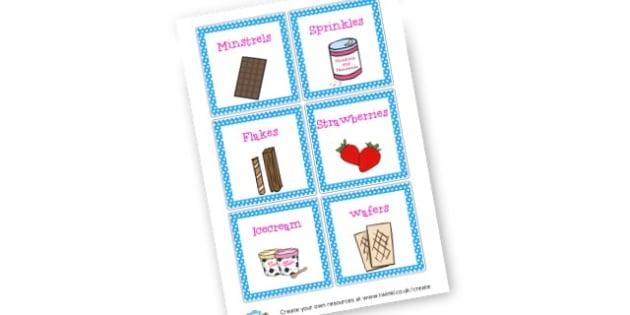 Ice Cream Bar Labels - Ice Cream Parlour Primary Resources, shop, parlour, ice cream shop