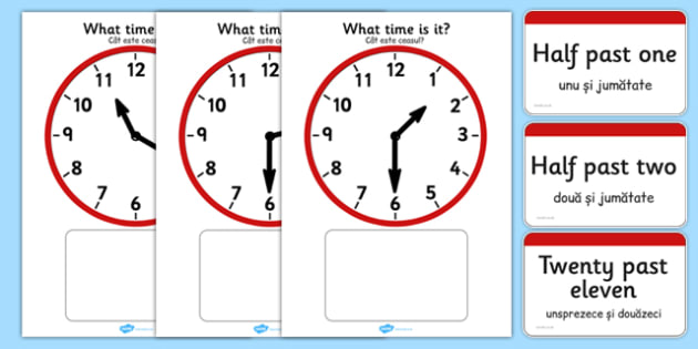 Analogue Clocks Matching Romanian Translation - romanian, Clock time matching game, Time, Time resource, Time vocabulary, clock face, O'clock, half past, quarter past, quarter to, shapes spaces measures, clock game, time game, foundation stage, KS1