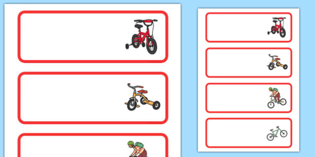 Bicycle Area Editable Word Cards - bicycle, area, editable, word cards
