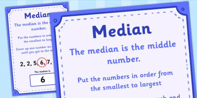 Median Poster - median, median definition, median display poster, numeracy median poster, ks2 numeracy poster, mean mode median and range, ks2
