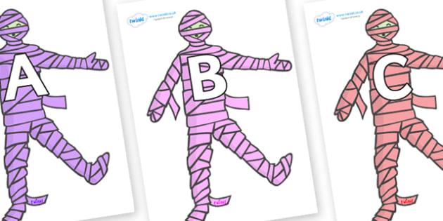 A-Z Alphabet on Mummies (Multicolour) - A-Z, A4, display, Alphabet frieze, Display letters, Letter posters, A-Z letters, Alphabet flashcards