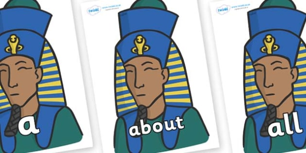 100 High Frequency Words on Pharaohs - High frequency words, hfw, DfES Letters and Sounds, Letters and Sounds, display words