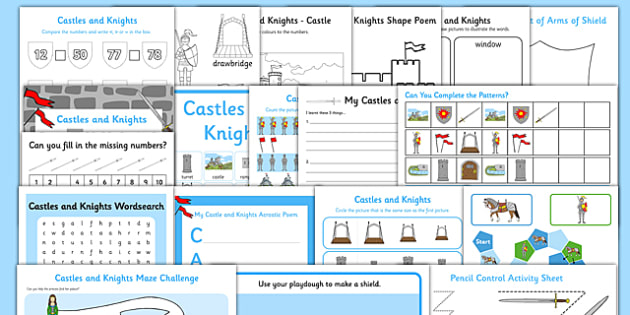 Castles Activity Pack - castle, knights, activities, games