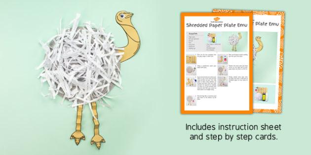 Shredded Paper Plate Emu Craft - australia, shredded paper, plate, emu, craft, paper plate
