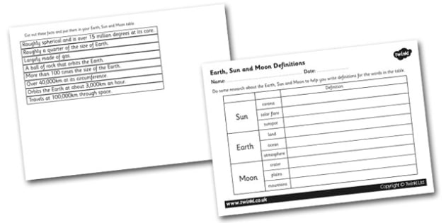 Earth Sun and Moon Definition Activity - earth sun and moon worksheet, earth sun and moon definitions worksheet, solar system cut and stick definitions