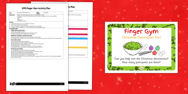 EYFS Christmas Decoration Sort Finger Gym Activity Plan and Prompt Card Pack