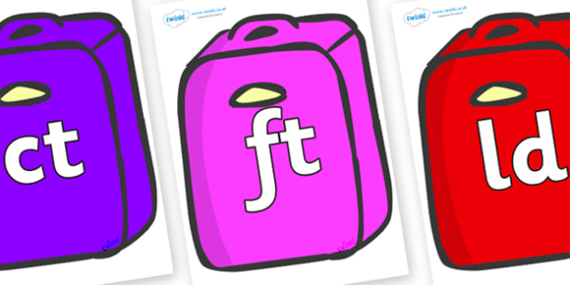Final Letter Blends on Suitcases - Final Letters, final letter, letter blend, letter blends, consonant, consonants, digraph, trigraph, literacy, alphabet, letters, foundation stage literacy