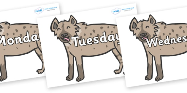 Days of the Week on Hyenas - Days of the Week, Weeks poster, week, display, poster, frieze, Days, Day, Monday, Tuesday, Wednesday, Thursday, Friday, Saturday, Sunday