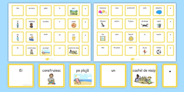 Cartonașe pentru construirea de propoziții