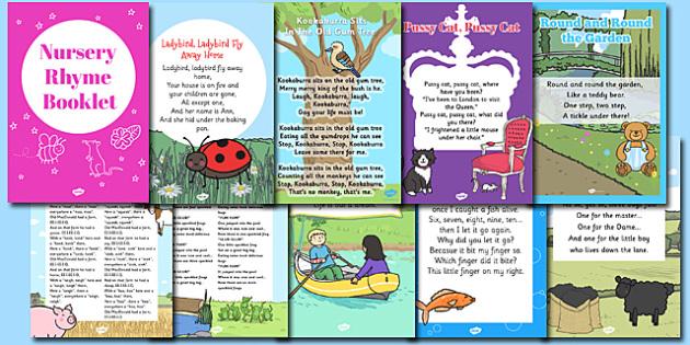Nursery Rhyme Booklet - rhymes, poems, poetry, rhyming, books