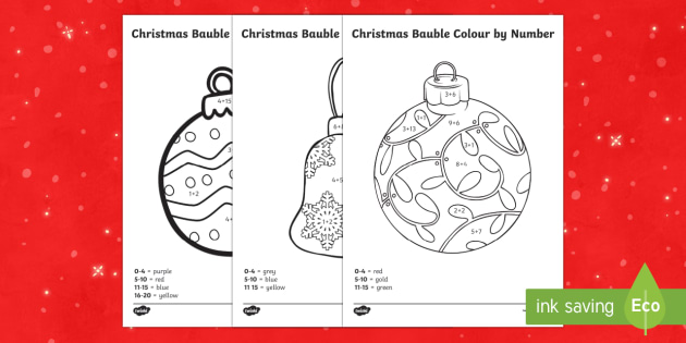 Christmas Baubles Colour by Number