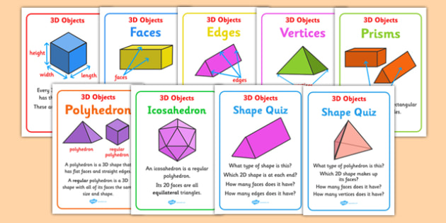 3D Object Properties Display Posters Australia - 3D, 3, dimension, properties, shape, shapes, faces, edges, cube, cuboid, sphere, sylinder, compare, maths