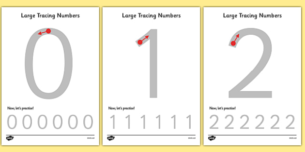 Large Tracing Numbers - Tracing numbers, tracing sheet, 0-9