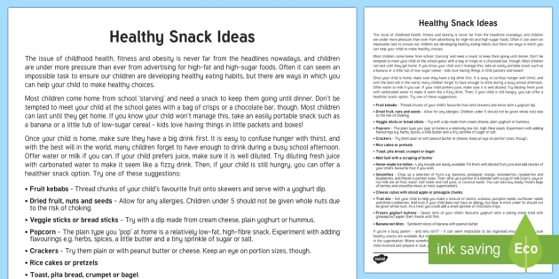 Healthy After School Snack Ideas Parent and Carer Information Sheet - snacks, healthy, food, diet, wellbeing, healthy snack ideas