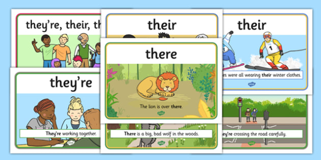 There They're Their Display Posters - there, theyre, their, difference, tricky, similar, display, poster, sign, difficult, distinguish, explanation, KS2, literacy