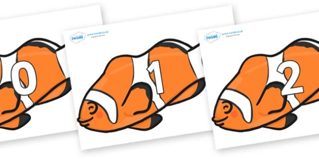 Numbers 0-50 on Clown Fish - 0-50, foundation stage numeracy, Number recognition, Number flashcards, counting, number frieze, Display numbers, number posters