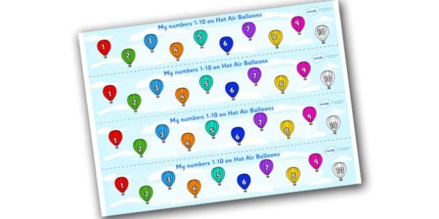 1-10 on Hot Air Balloons Number Strips - Maths, Math, number track, hot air balloon, Numberline, Number line, Counting on, Counting back, counting, space