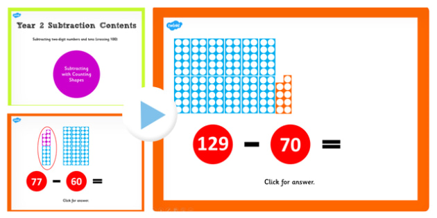 Y2 Subtract 2 Digit Numbers Tens Same 10s Cross 100 Count shapes
