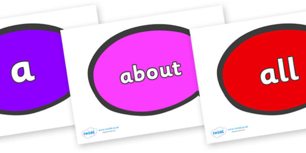100 High Frequency Words on Speech Bubble - High frequency words, hfw, DfES Letters and Sounds, Letters and Sounds, display words