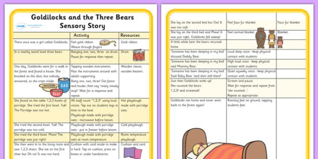Goldilocks and the Three Bears Sensory Story-goldilocks and the three bears, sensory, sensory story, goldilocks sensory story, sensory worksheet, story worksheet