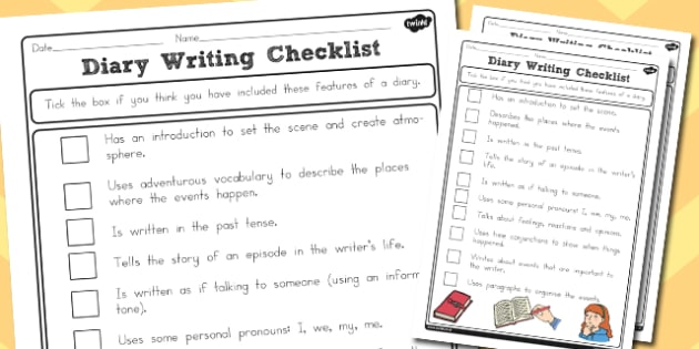 Diary Writing Checklist Differentiated - australia, diary, write