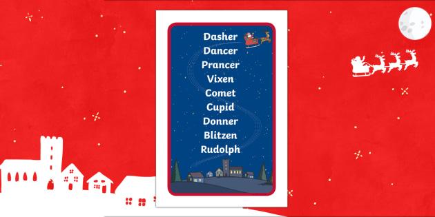 Santa's Reindeer Names Prompt Frame