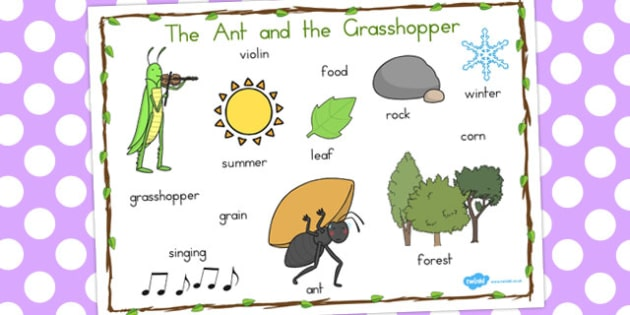 The Ant and the Grasshopper Word Mat - australia, word, mat, ant
