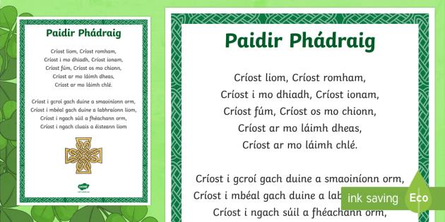 Paidir Phádraig Display Poster Gaelige - ROI - St. Patrick's Day ...