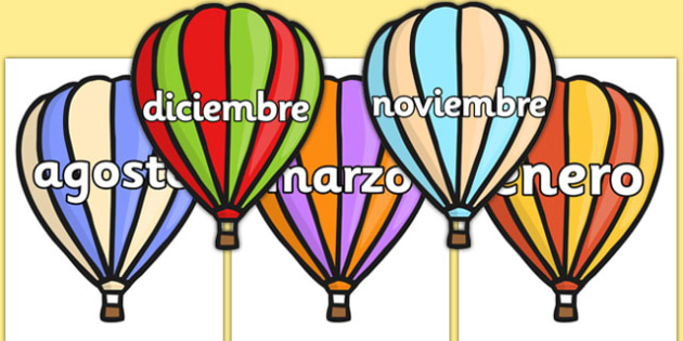 Months of the Year on Hot Air Balloons (Stripes) Spanish - spanish, months, year, balloons