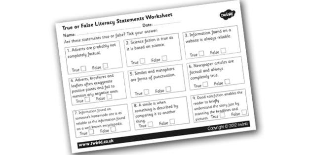 True or False Literacy Statements Worksheet - true or false literacy worksheet, true or false worksheet, literacy worksheet, text type facts, literacy facts, ks2
