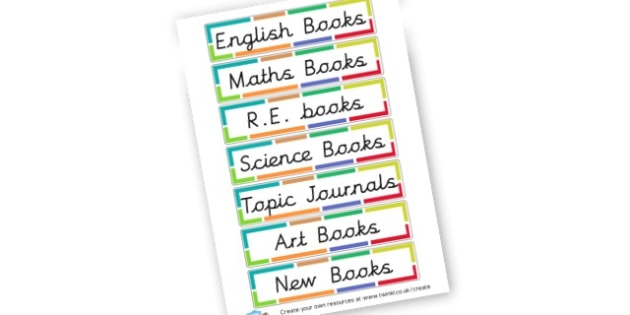 Book Shelf - Resource Labels Primary Resources, resource, label, drawer labels
