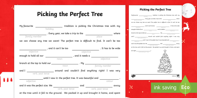 The Perfect Christmas Tree Mad Libs Activity Sheet