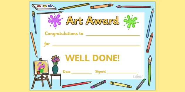 Art Award Certificate - Art Award Certificate, Art, Arts, drawing, draw, paint, painting, creative, creativity