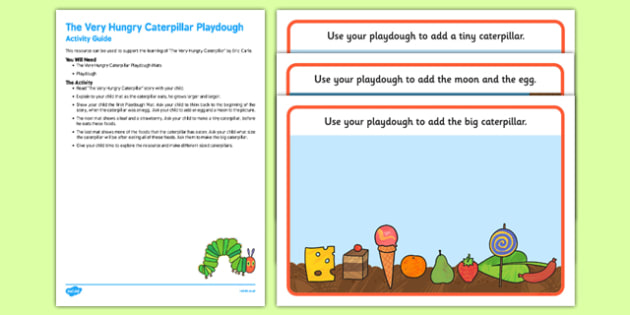 Playdough Activity Busy Bag Resource Pack For Parents to Support Teaching on The Very Hungry Caterpillar - Size comparison, big and little, Eric Carle